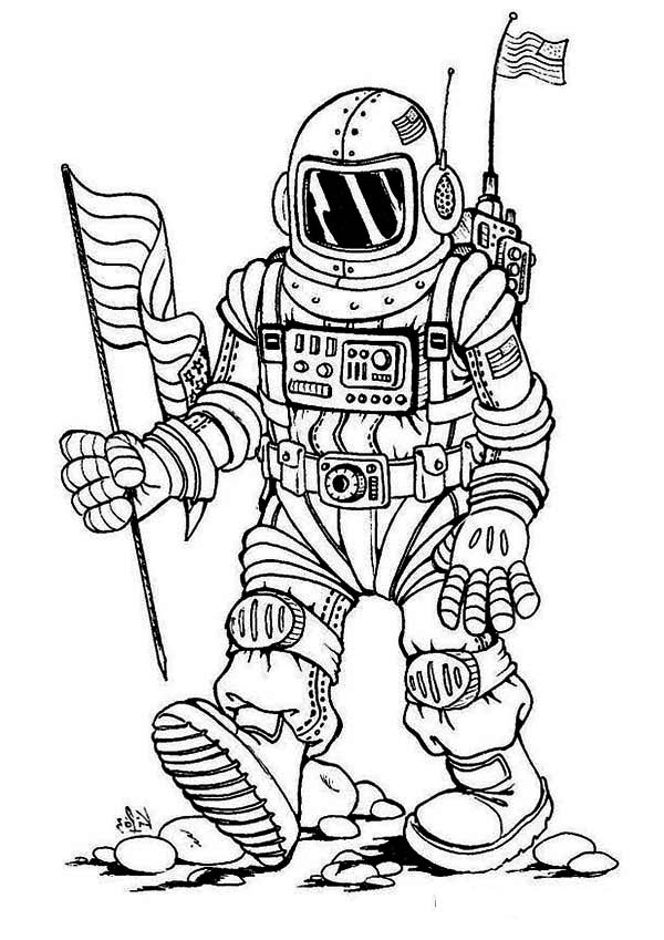 astronaut a fantasy image of future astronaut coloring page a fantasy image of future - Astronaut Coloring Pages