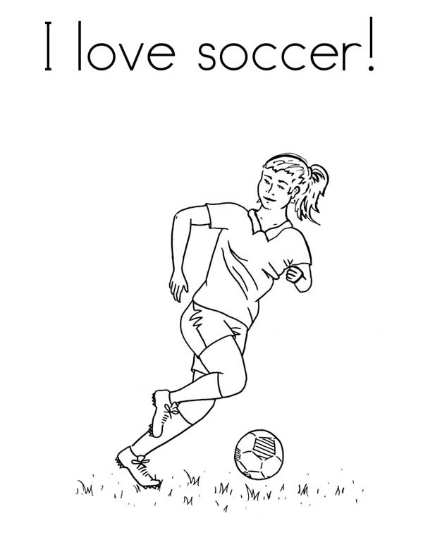A Female Player in I Love Soccer Pamphlet Coloring Page - Download ...