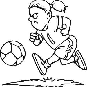 a female soccer player dribbling the ball coloring page - Girl Soccer Player Coloring Pages