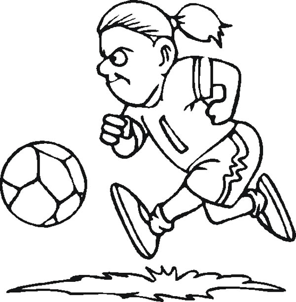 A Female Soccer Player Dribbling the Ball Coloring Page - Download ...