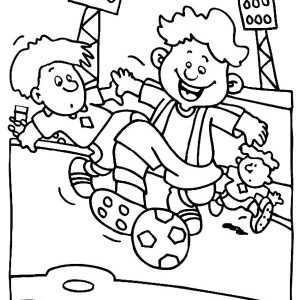 A Group Of Boys Playing Soccer In Stadium Coloring Page