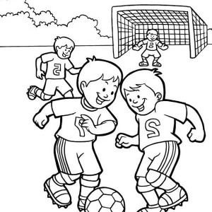 soccer a group of kids playing soccer in the school yard coloring page a