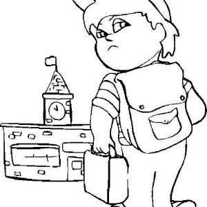 A Grumpy Boy on His First Day of School Coloring Page