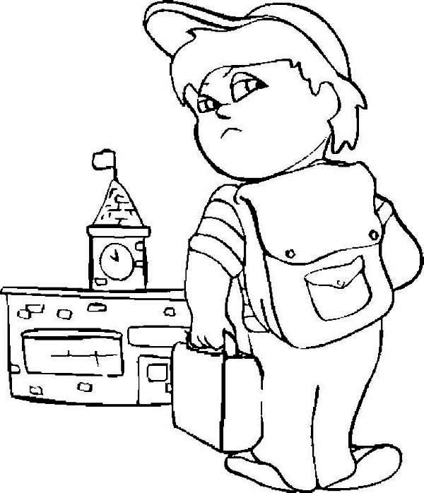 first day of school a grumpy boy on his first day of school coloring page - First Day Of School Coloring Page