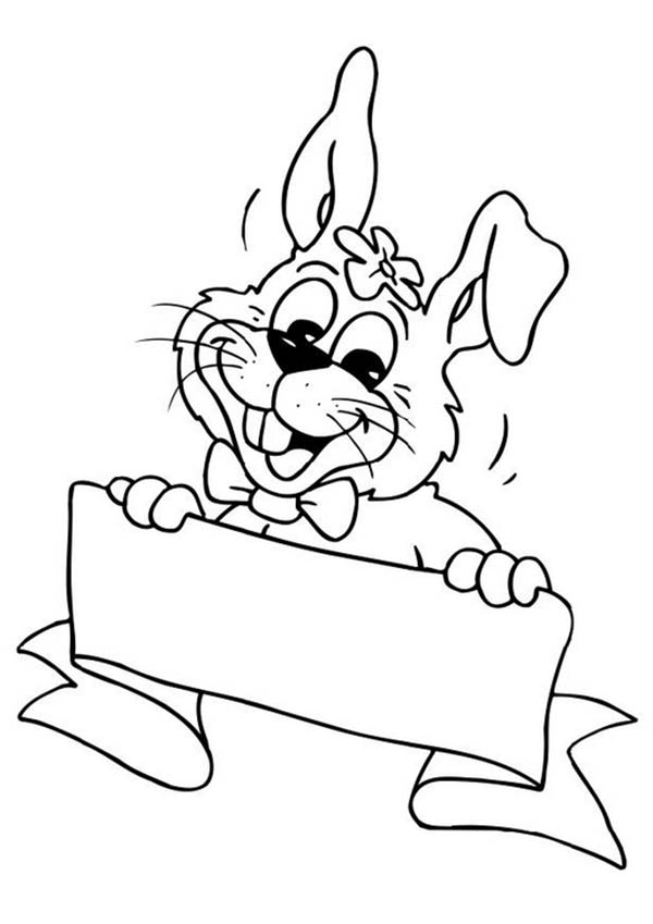 A Happy Bunny Holding a Sign Board Coloring Page - Download & Print ...