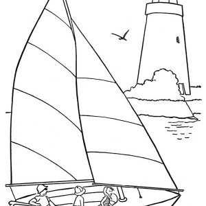 A Happy Family on Beach Sailing Coloring Page