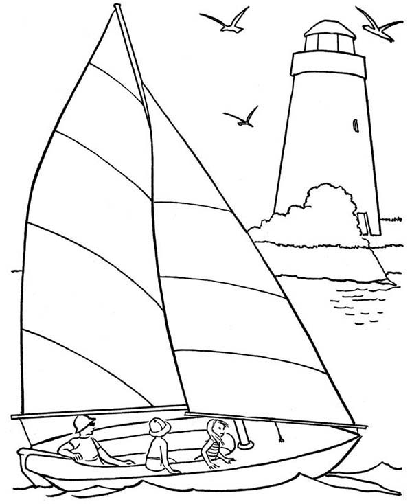 Yacht Coloring Page  ReallyColor