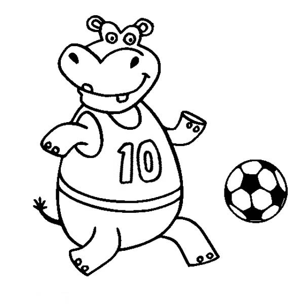 A Happy Hippo Playing Soccer Coloring Page Download Print