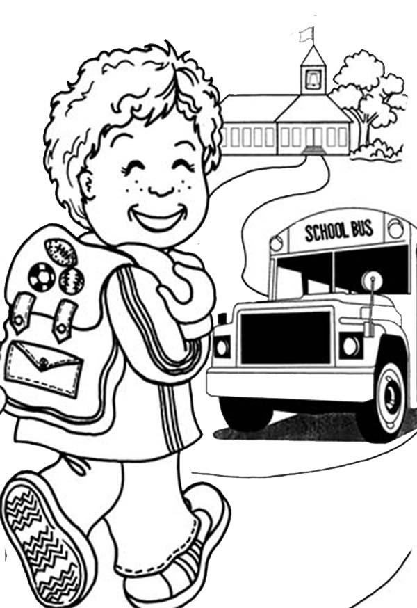 A Happy Little Boy on First Day of School Coloring Page Download