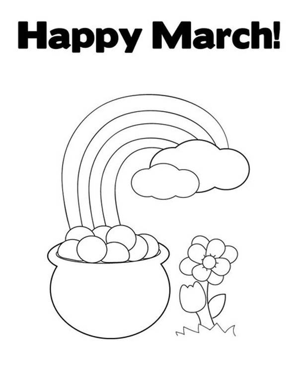 print a happy march with leprechaun rainbow gold pot coloring page in full size - Coloring Pages Rainbow Pot Gold