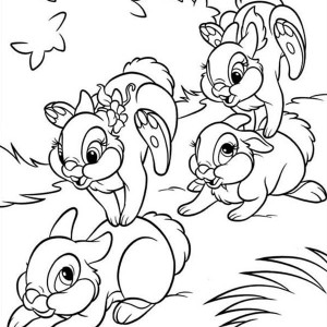 Thumper and Miss Bunny Getting Sleepy Coloring Page Thumper and