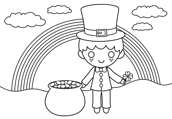 a happy st patricks day with rainbow and gold pot coloring page - Coloring Pages Rainbow Pot Gold