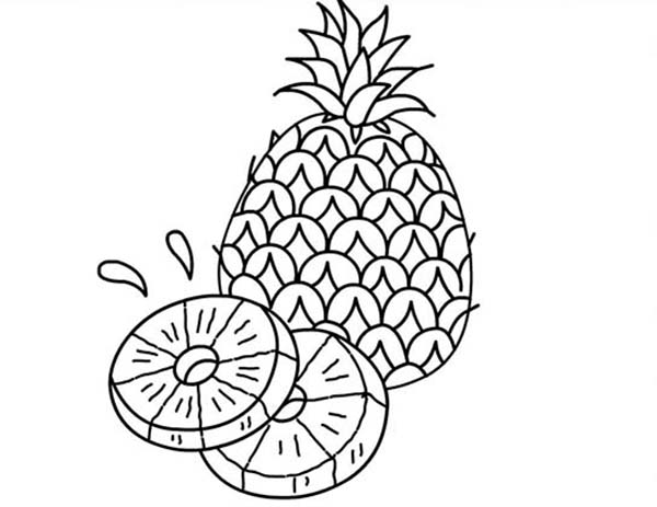 A Juicy Slice of Pineapple Coloring Page Download Print Online