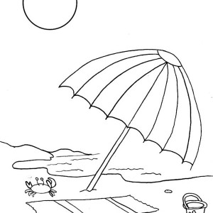 A Beach Umbrella and Slippers Coloring Page A Beach Umbrella and
