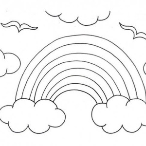 rainbow a kids drawing of rainbow over the clouds coloring page a kids drawing - Coloring Page Rainbow Clouds