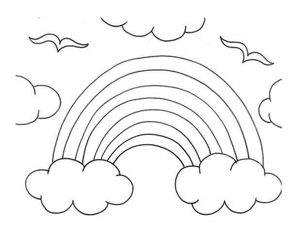 Print a kids drawing of rainbow over the clouds coloring page in full size