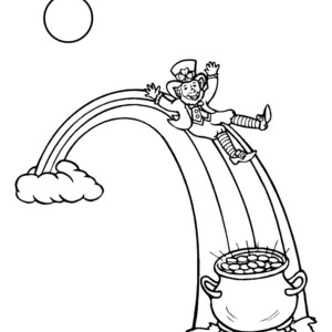 a leprechaun and his gold pot in the rainbow coloring page