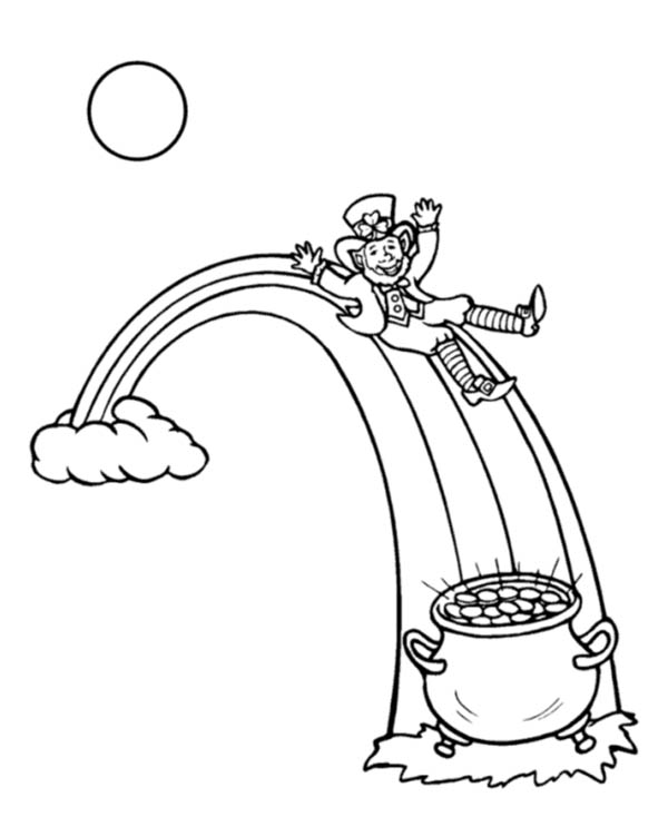 A Leprechaun and His Gold Pot in the Rainbow Coloring Page: A ...