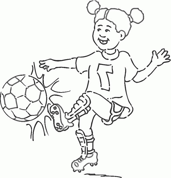 soccer a little girl on soccer jersey making a shoot coloring page a little girl
