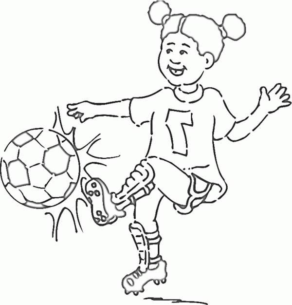 a little girl on soccer jersey making a shoot coloring page - Girl Soccer Player Coloring Pages