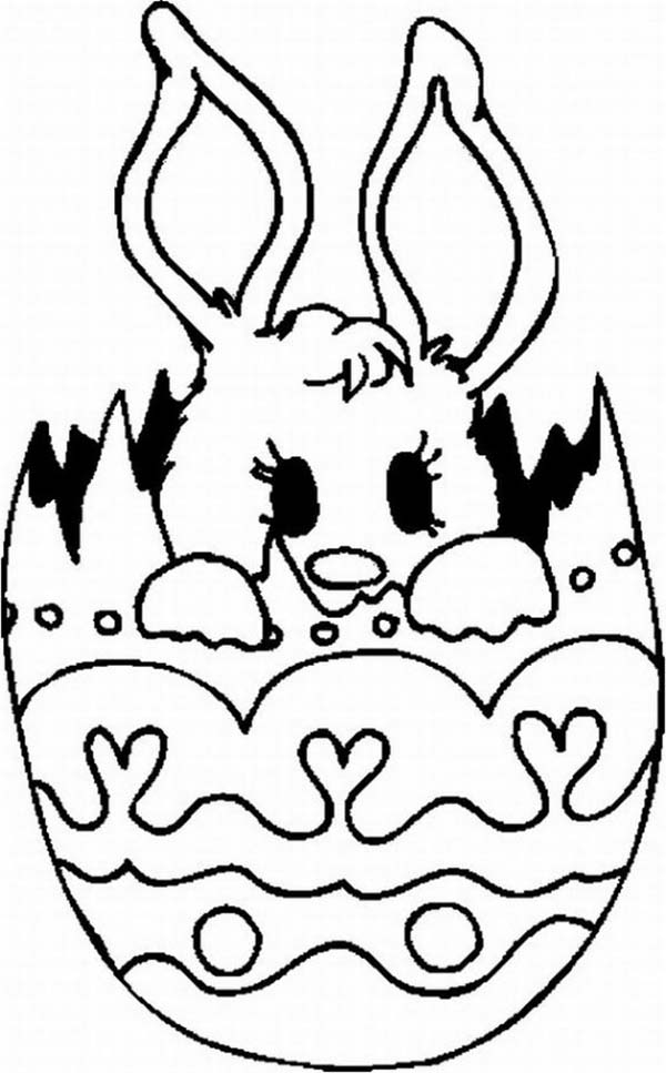 A Lovely Baby Bunny Inside the Easter Egg Coloring Page Download