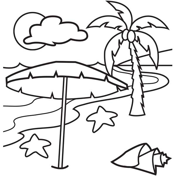 A Lovely Beach on Tropical Island Coloring Page Download Print