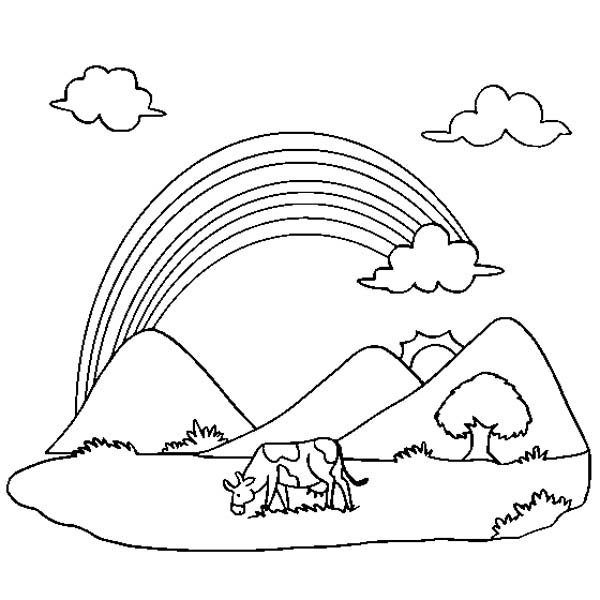 A lovely rainbow over the farm coloring page