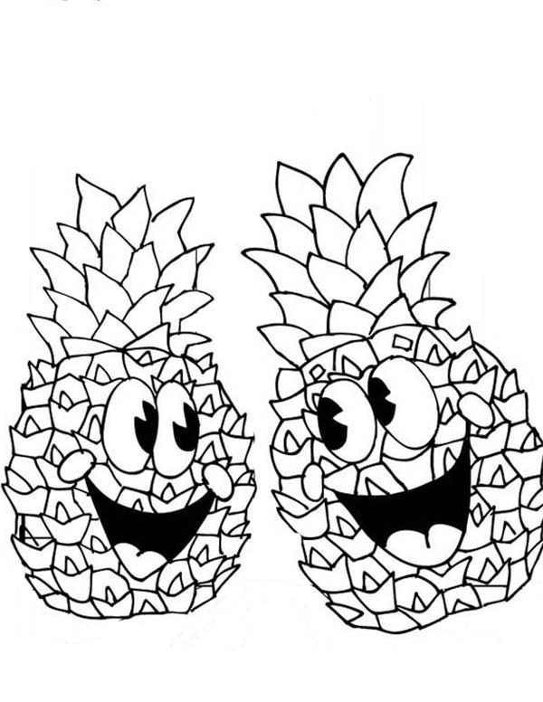 A Pair Of Happy Pineapple Coloring Page