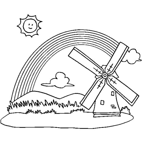 A Panoramic View of Rainbow and a Windmill Coloring Page