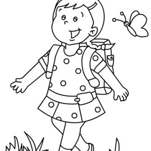 a preschool girl student on her first day of school coloring page - First Day Of Preschool Coloring Pages