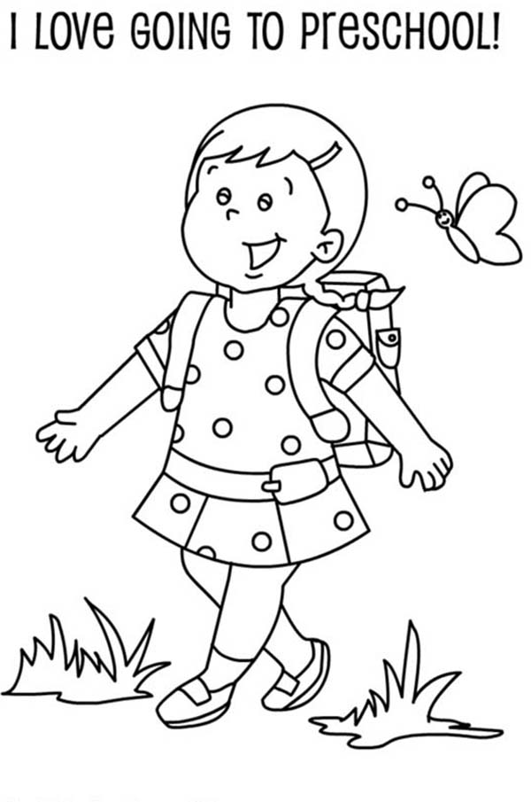 a preschool girl student on her first day of school coloring page - First Day Of School Coloring Page