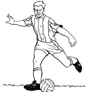 soccer a profesional soccer player doing a long pass coloring page a profesional soccer