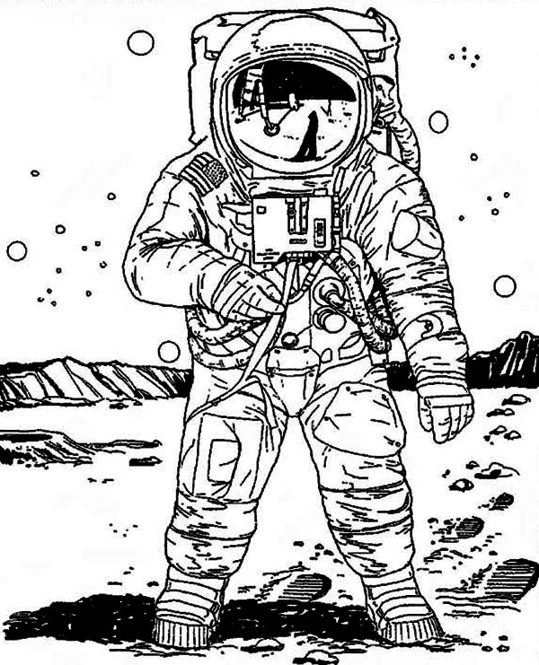 A Realistic Image of Astronaut in the Moon Coloring Page ...