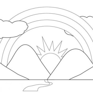 A Scenic View of Rainbow Behind the Mountains Coloring Page