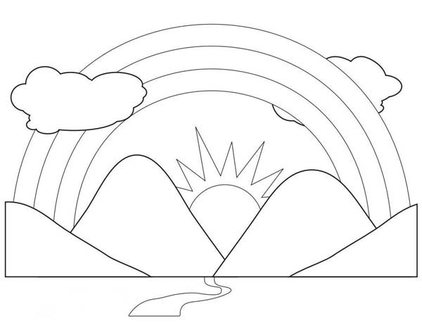 a scenic view of rainbow behind the mountains coloring page - Mountain Coloring Page