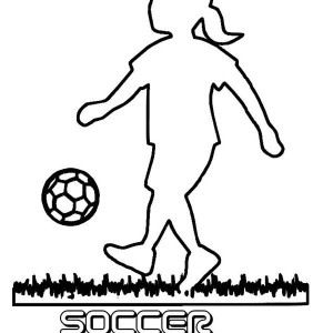 A Silhouette of Little Girl Playing Soccer Coloring Page