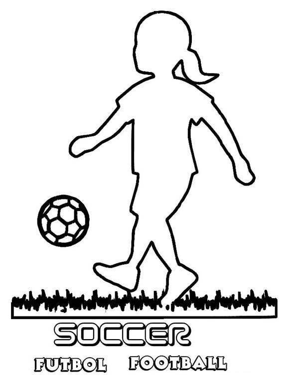 A Silhouette of Little Girl Playing Soccer Coloring Page ...