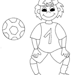A Silly Boy on His Soccer Jersey Coloring Page