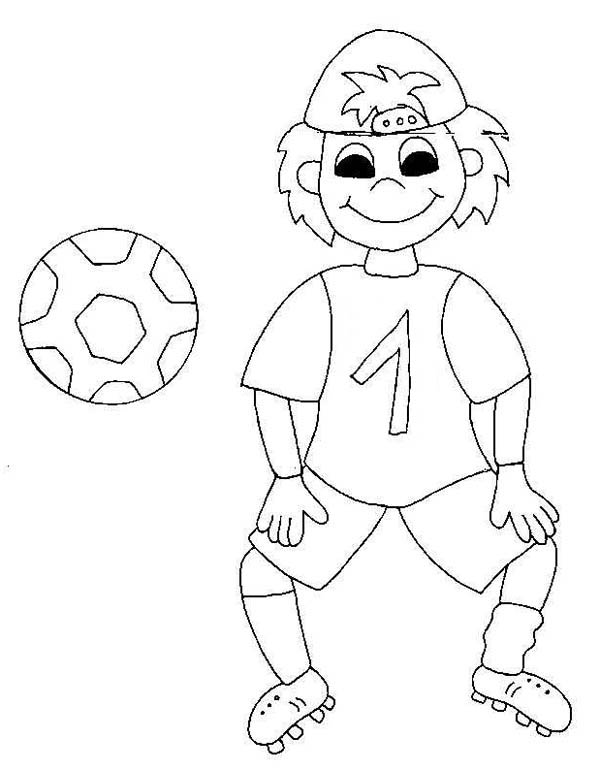 print a silly boy on his soccer jersey coloring page in full size