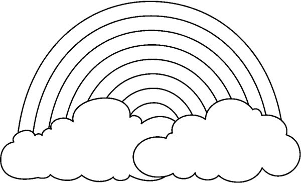 print a simple drawing of rainbow behind the cloud coloring page in full size - Drawing Pictures For Colouring