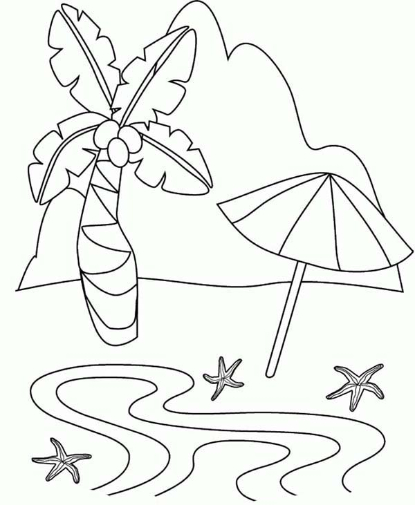 A Simple Drawing Of Tropical Beach Island Coloring Page