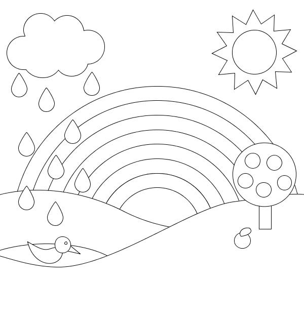 simple rainbow coloring page - free coloring pages of psalm 119 verse 103