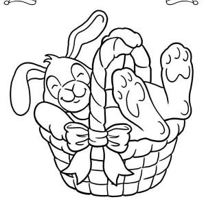 A Sleepy Bunny Inside the Easter Basket Coloring Page