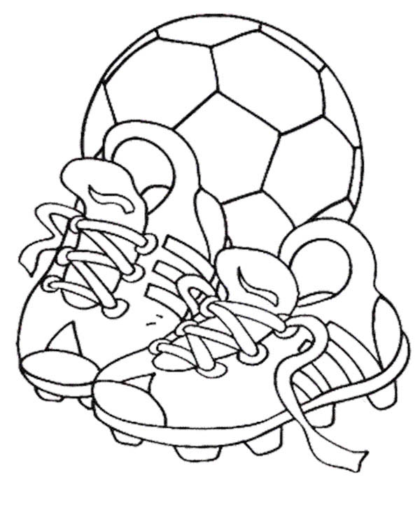 A Soccer Ball and Pair of Soccer Cleats Coloring Page  Download