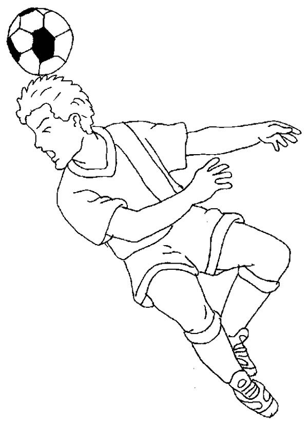 A Soccer Player Doing a Heading to Make a Goal Coloring Page