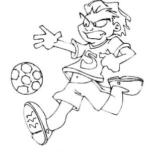 A Soccer Player Dribble the Ball Fiercely Coloring Page