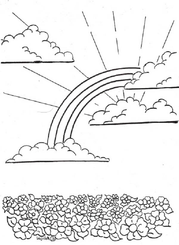 A Sweet Rainbow Over the Flower Field Coloring Page - Download ...