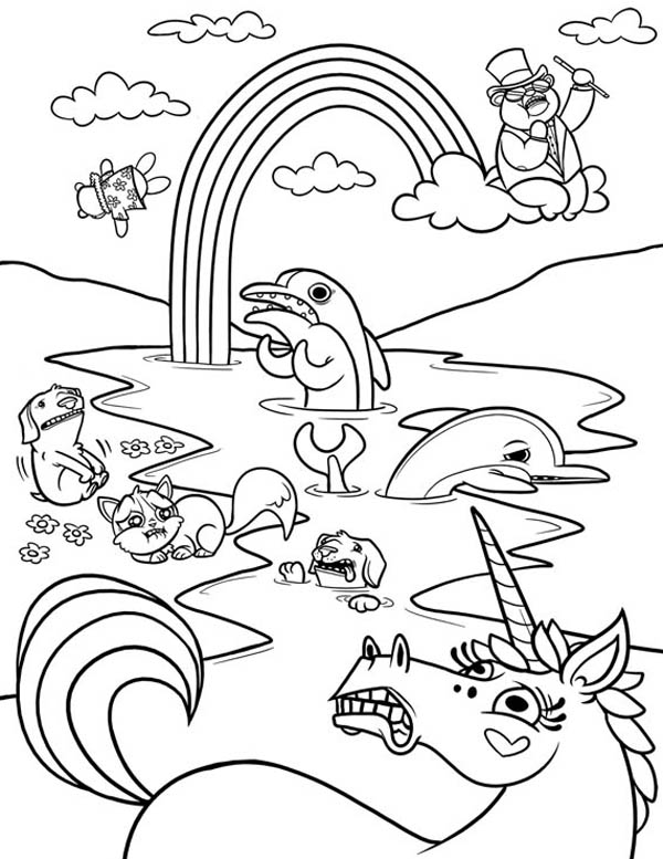 A Wierd Frightened Animals And Rainbow Coloring Page