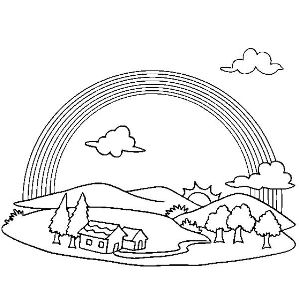 A wonderful view of rainbow over a small village coloring page
