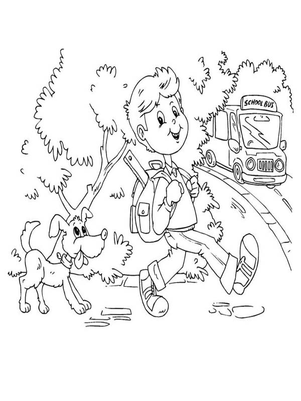 a boy and his dog coloring pages - photo #35